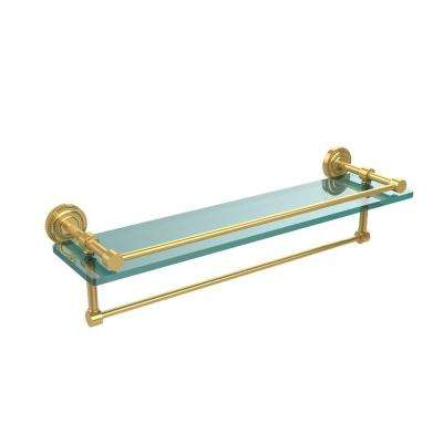 Dottingham 22 in. L  x 5 in. H  x 5 in. W Clear Glass Bathroom Shelf with Towel Bar in Polished Brass