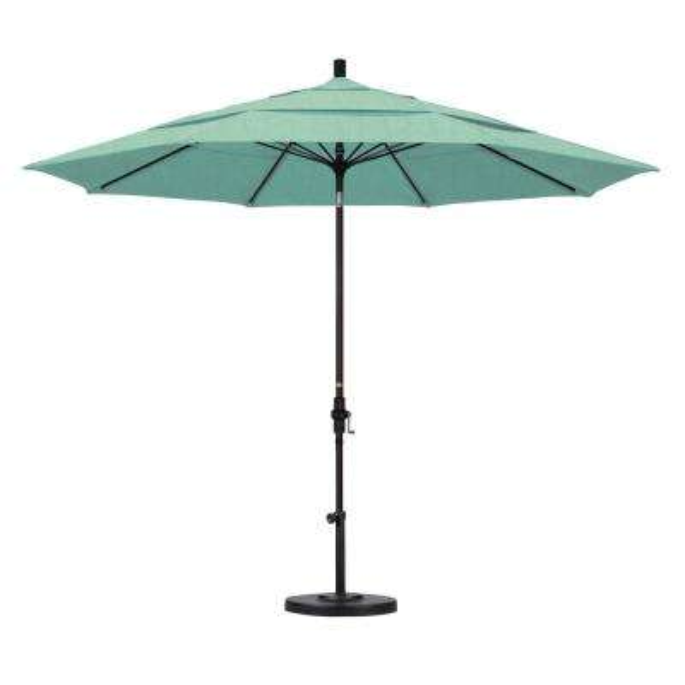 11 ft. Bronze Aluminum Market Patio Umbrella with Fiberglass Ribs Collar Tilt Crank Lift  in Spectrum Mist Sunbrella