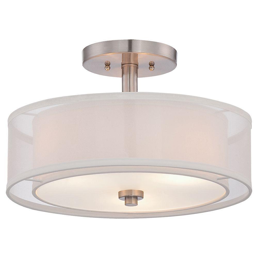 Minka Lavery Parsons Studio 3 Light Brushed Nickel Semi Flushmount