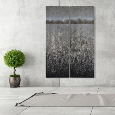 "60 in. x 20 in. ""Listlessness"" - Set of 2 Textured Metallic Hand Painted by Martin Edwards Wall Art"