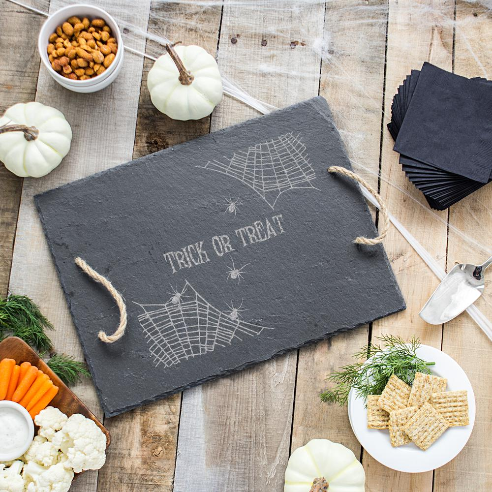 spider web halloween slate serving tray