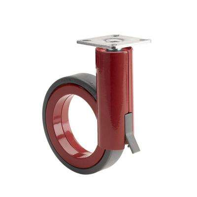3-17/32 in. black and Red Swivel with Brake plate Caster, 132 lb. Load Rating