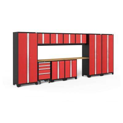 Bold 3.0 77.25 in. H x 186 in. W x 18 in. D 24-Gauge Welded Steel Garage Cabinet Set in Red (12-Piece)