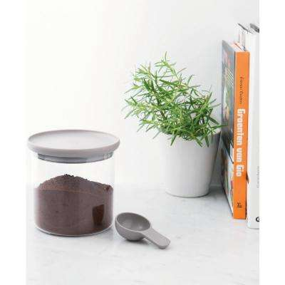 Leo 5 in. x 5 in. Gray Glass Food Container with Spoon