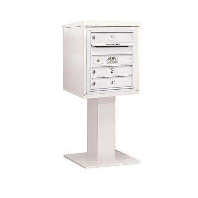 3400 Series 48-1/8 in. 5 Door High Unit White 4C Pedestal Mailbox with 3 MB1 Doors