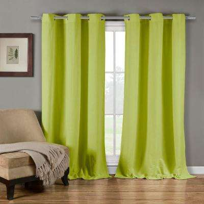Mildred 38 in. W x 84 in. L Polyester Window Panel in Green Apple