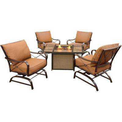 Summer Nights 5-Piece Metal Patio Conversation Set with Tile-Top Fire Pit Table and Desert Sunset Cushions