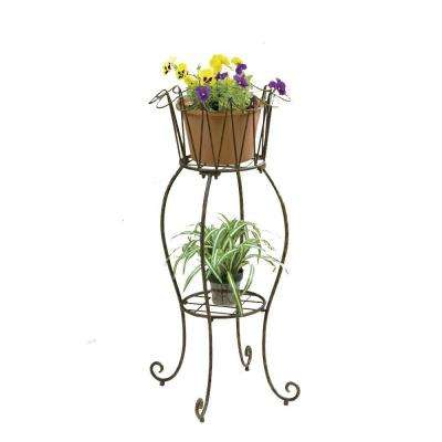 16 in. Metal Tall Round Wave Planter