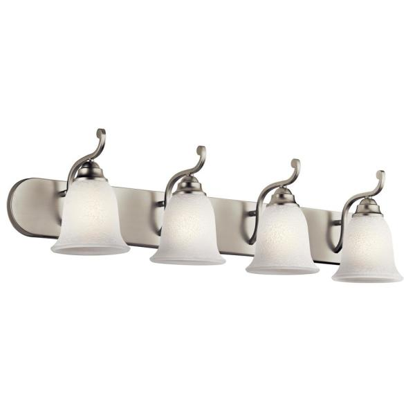 Camerena 4-Light Brushed Nickel Vanity Light with White Scavo Glass