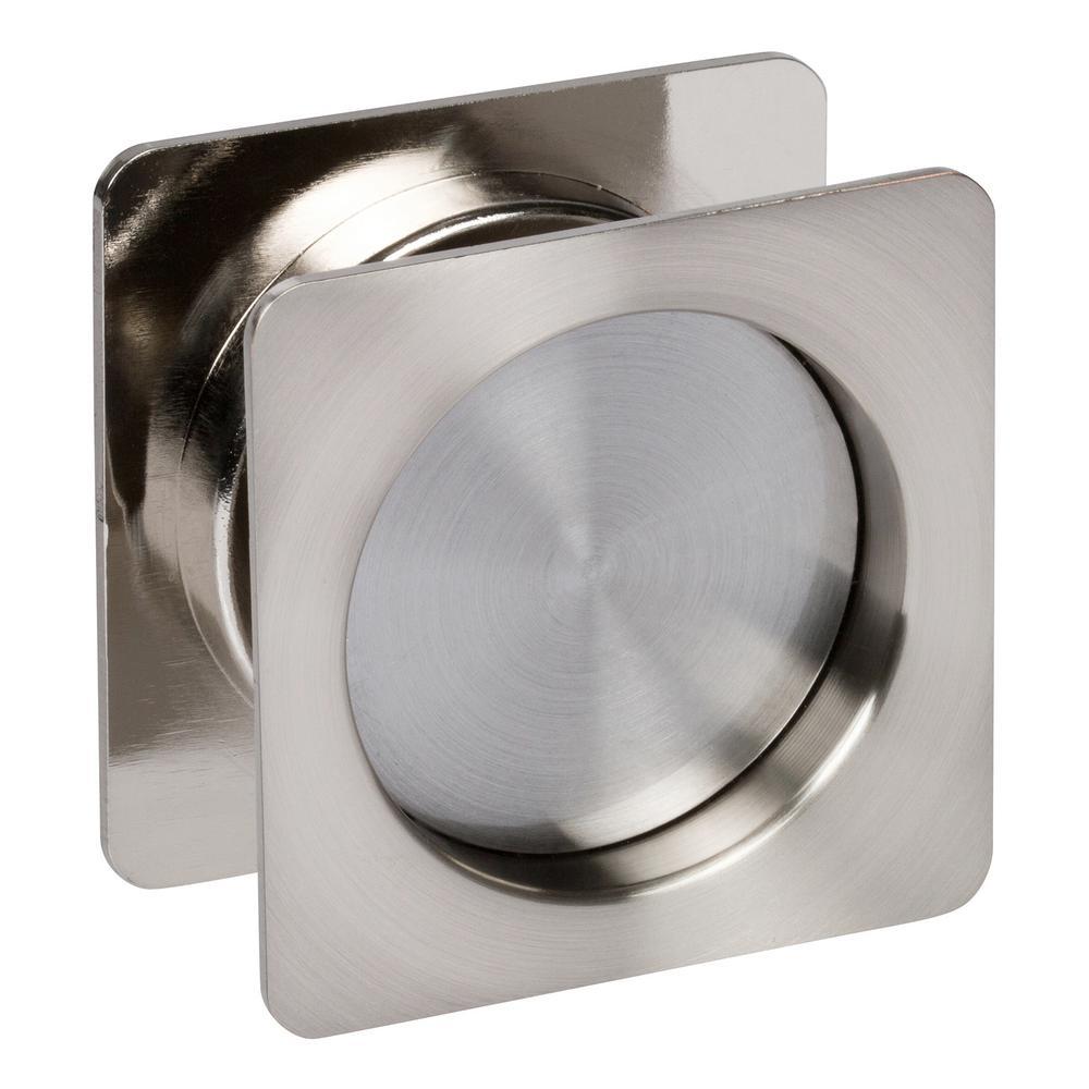 Contemporary Square Satin Nickel Hall, Closet Sliding Passage Pocket Door Lock