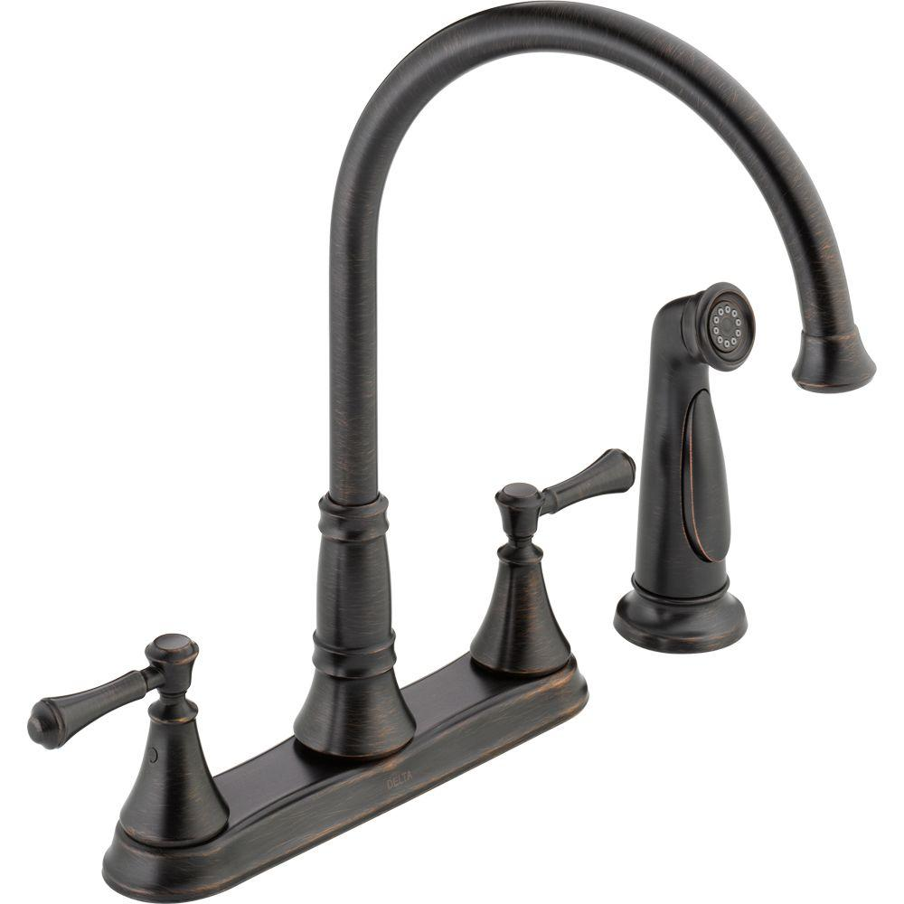 Delta Cassidy 2 Handle Standard Kitchen Faucet With Side Sprayer In