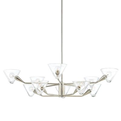 Isabella 10-Light Polished Nickel Chandelier with Clear Shade