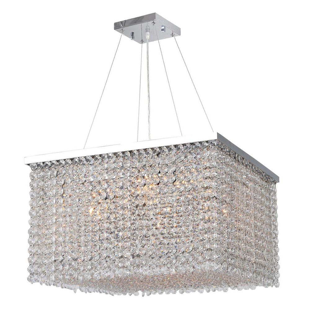 Worldwide Lighting Prism Collection 9-Light Chrome Chandelier