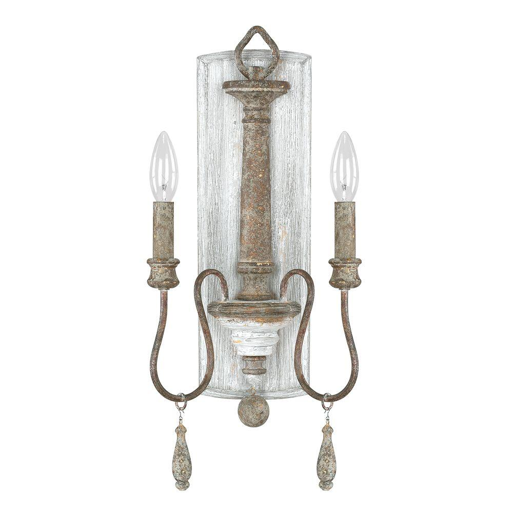 2 Light French Antique Sconce 9A198A   The Home Depot