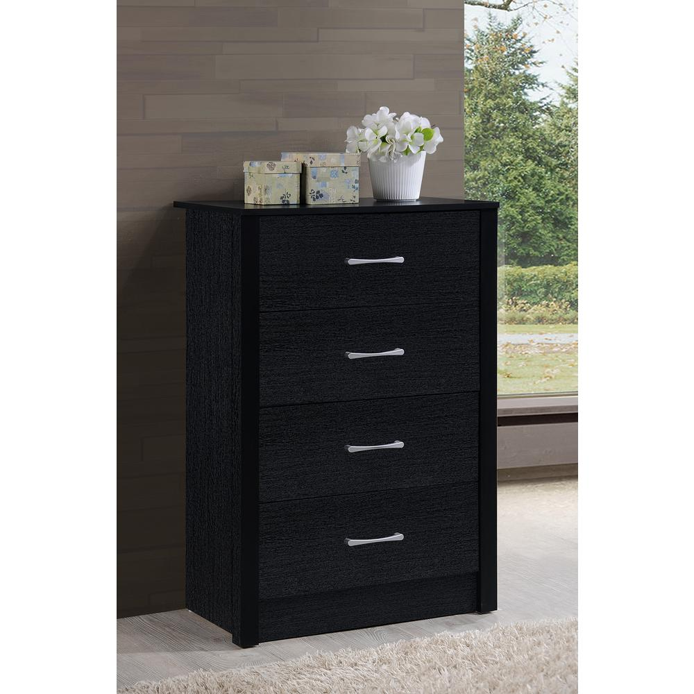 Hodedah 4 Drawer Black Chest Hi4dr Black The Home Depot