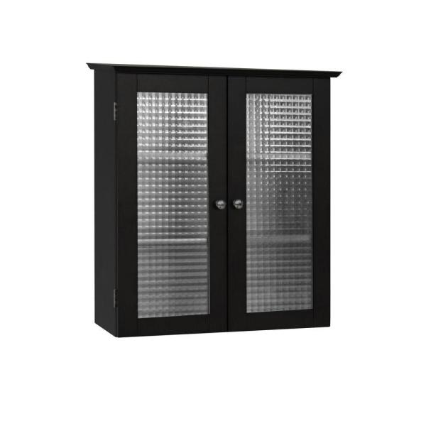 Cape Cod 22-1/2 in. W x 25 in. H x 8 in. D Bathroom Storage Wall Cabinet with Two Glass Doors in Espresso