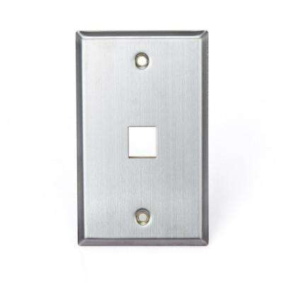 1-Gang QuickPort Standard Size 1-Port Wallplate, Stainless Steel