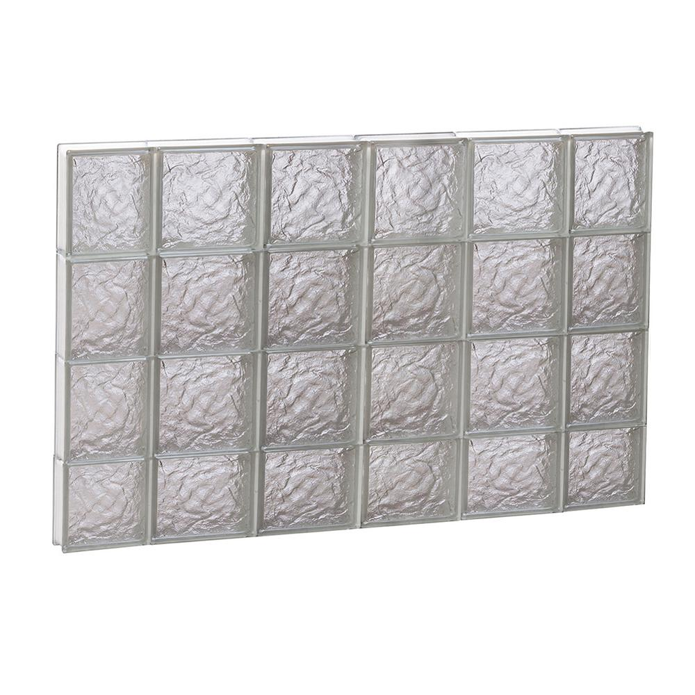 Clearly Secure 42.5 in. x 29 in. x 3.125 in. Non-Vented Ice Pattern Frameless Glass Block Window