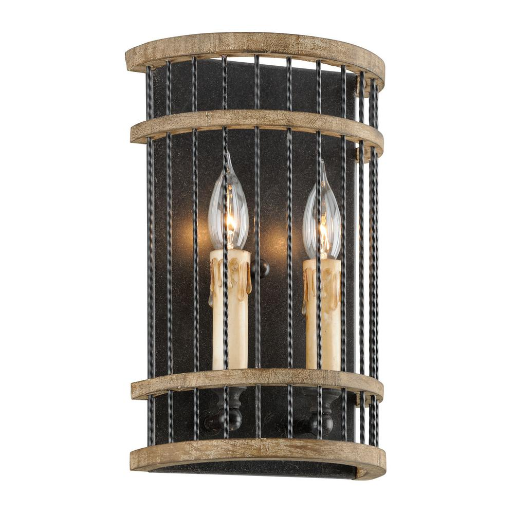 Troy Lighting Vineyard 2 Light Rusty Iron With Salvaged Wood Wall Sconce