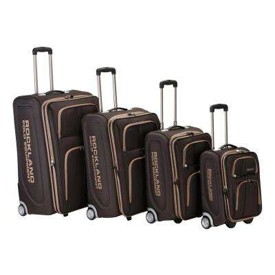 Rockland Expandable Luggage Varsity Polo Equipment 4-Piece Softside Luggage Set, Brown