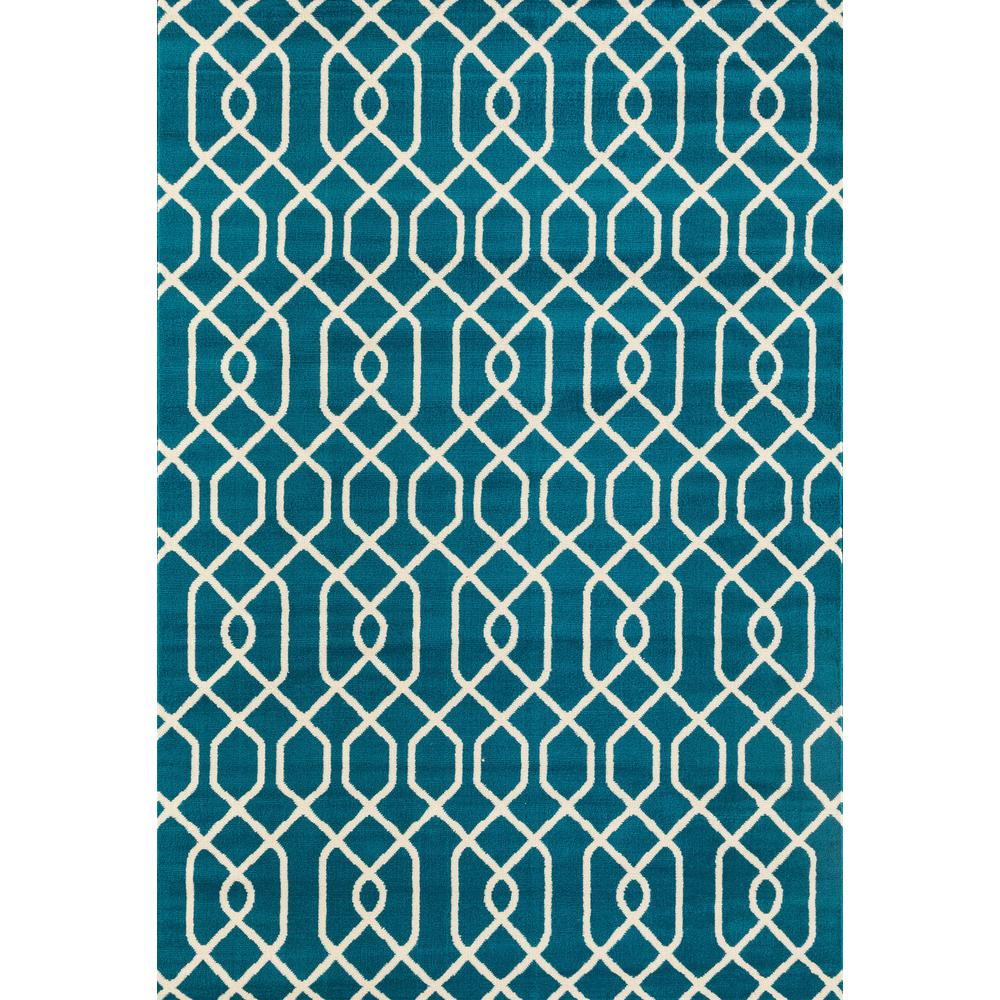 World Rug Gallery Modern Trellis Pattern Blue 5 Ft X 7 Ft