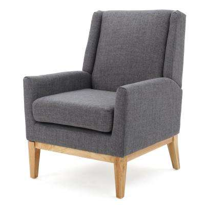 Sariyah Light Grey Fabric Wing Back Accent Chair
