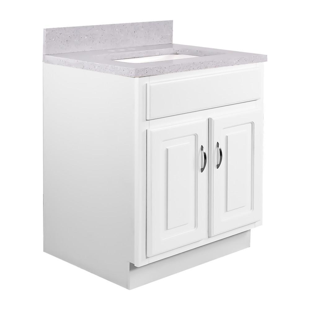 24 in. x 21 in. x 30 in. 2-Door Bath Vanity in White with 4 in. Centerset Flint Quartz Vanity Top with Basin in White