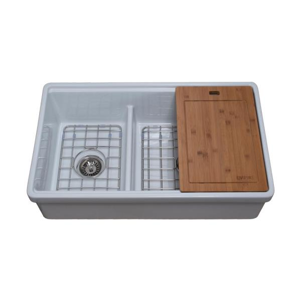 Tosca Farmhouse Fireclay 33 in. 60/40 Double Bowl Kitchen Sink in White with Cutting-Board, Bottom Grid and Strainer