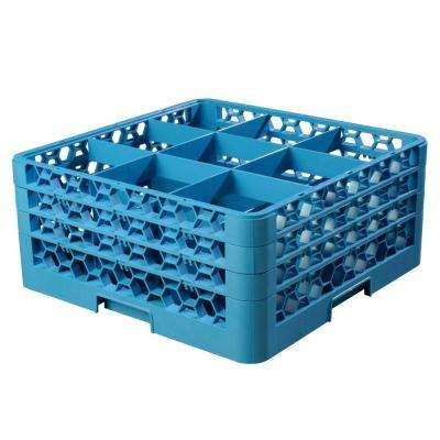 19.75x19.75 in. 9-Compartment 3 Extenders Glass Rack (for Glass 5.56 in. Diameter, 7.94 in. H) in Blue (Case of 2)