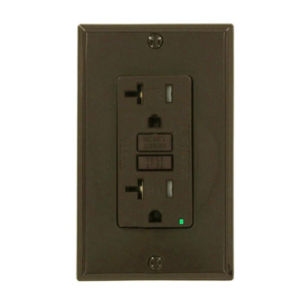 20 Amp SmartlockPro Tamper Resistant GFCI Outlet, Brown