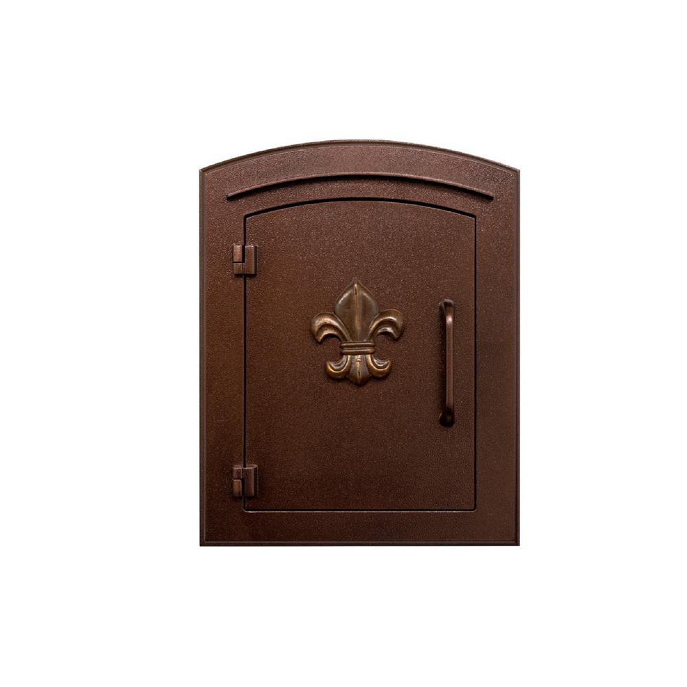 Manchester Manchester Antique Copper Column Mount Non-Locking Mailbox with  Fleur De Lis Logo