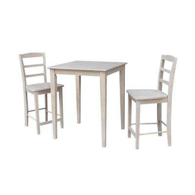 Solid Wood 3-Piece Weathered Taupe Gray Dining Set