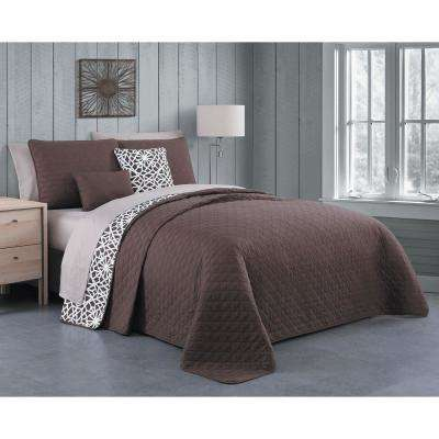 Brady 9-Piece Mocha Queen Quilt Set