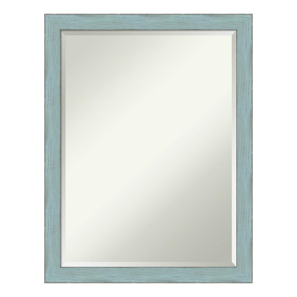 21 in. x 27 in. Sky Blue Rustic Wood Distressed Bathroom Vanity Mirror