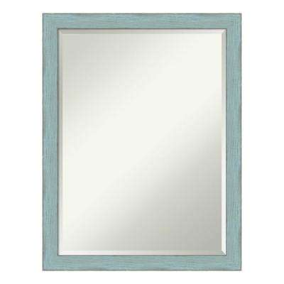 21 in. x 27 in. Sky Blue Rustic Wood Distressed Bathroom Vanity Mirror