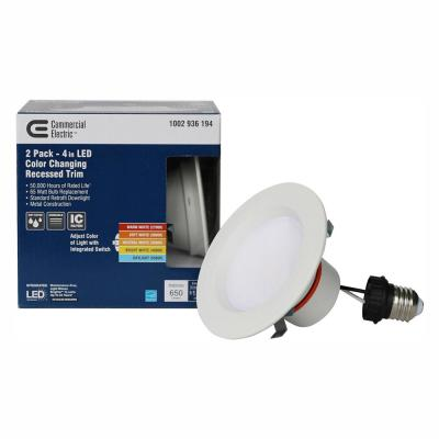 4 in. Matte White Integrated LED Recessed Trim (2-Pack)