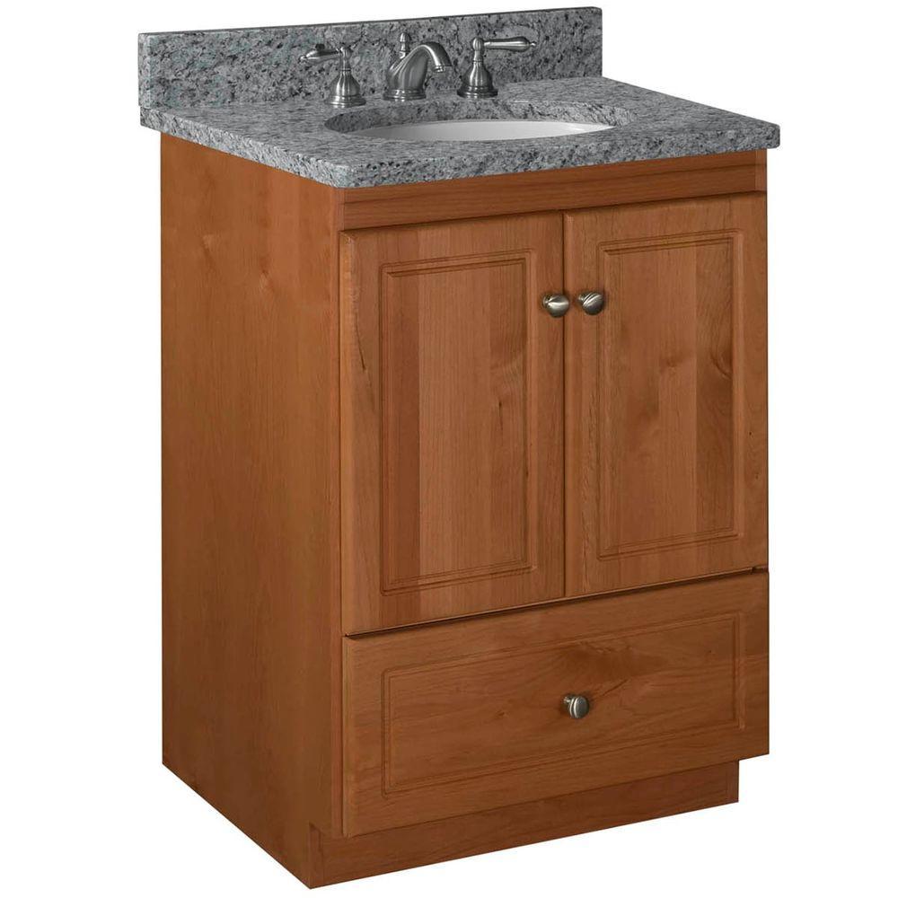 Ultraline 24 in. W x 21 in. D x 34.5 in. H Vanity Cabinet Only in Medium Alder