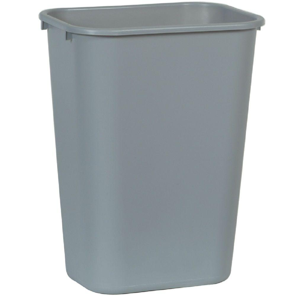 Rubbermaid commercial products gal grey rectangular for Commercial bathroom trash cans