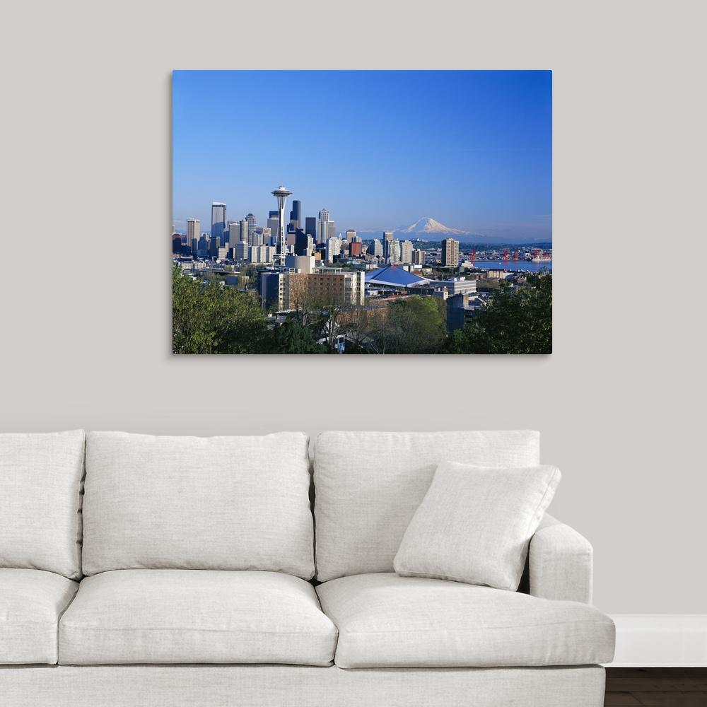 greatbigcanvas washington seattle skyline with space needle and
