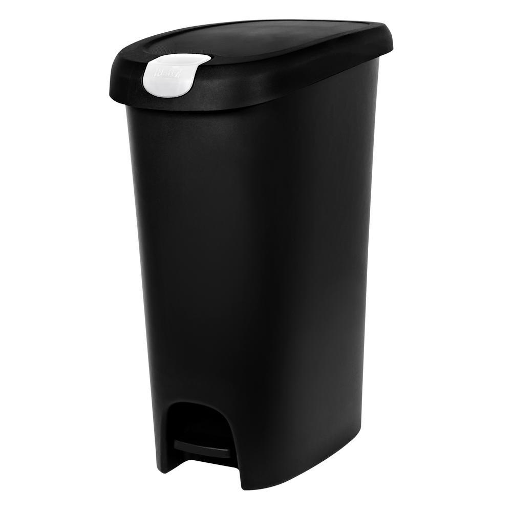 12 Gal. Slim Lockable Step-On Trash Can