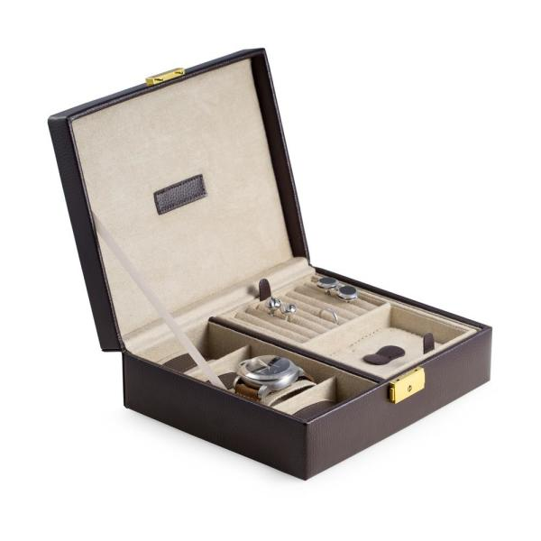 Brown Leather 4 Watch Case And Valet With Removable Tray And Locking Clasp
