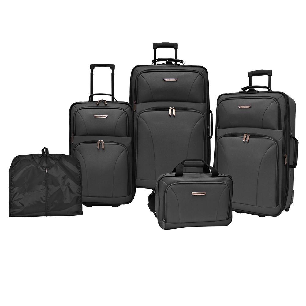 Traveler's Choice TC0835 5-Piece Luggage Set (Black)