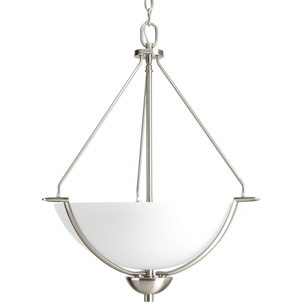 Bravo Collection 3-Light Brushed Nickel Foyer Pendant with Etched Glass