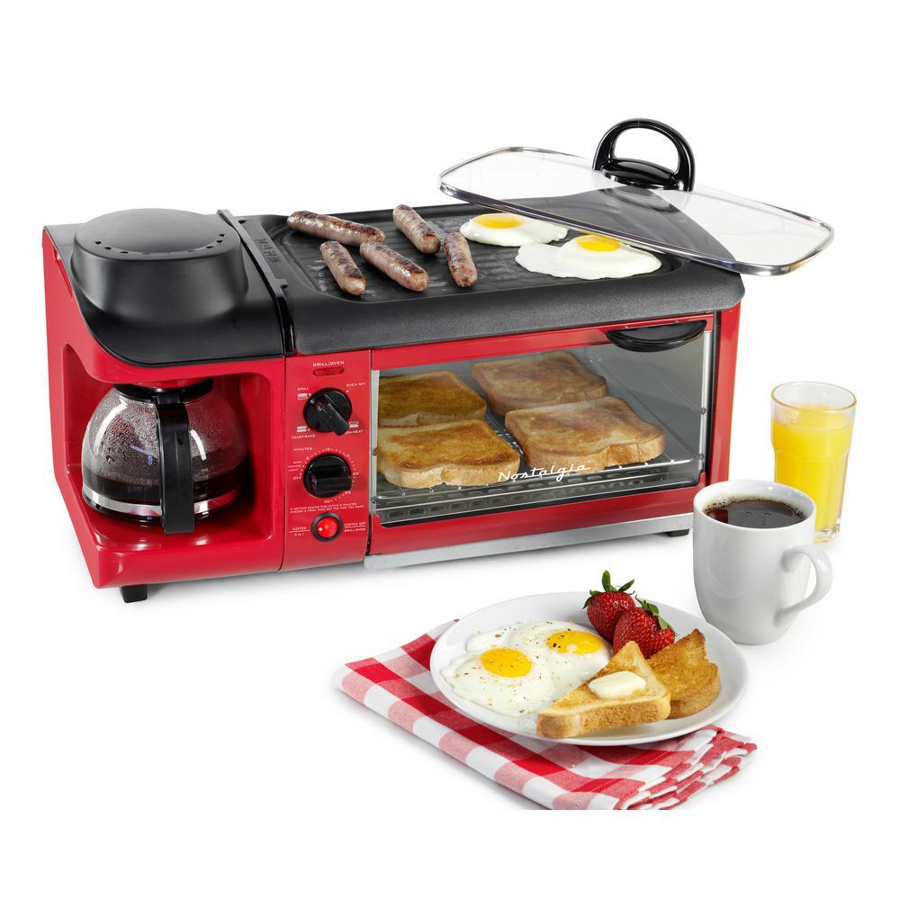Nostalgia Retro Series 4-Slice 3-in-1 Breakfast Station Toaster Oven in Red