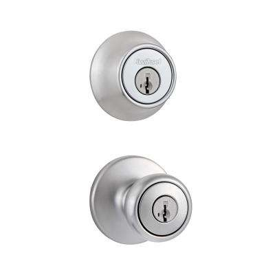 Tylo Satin Chrome Single Cylinder Knob Combo Pack Featuring SmartKey Security