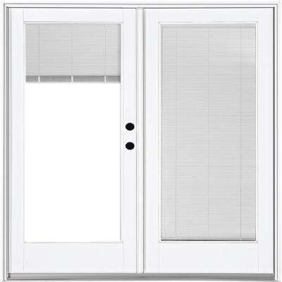 72 in. x 80 in. Fiberglass Smooth White Left-Hand Inswing Hinged Patio Door with Low E Built in Blinds