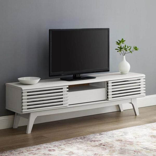 Render 59 in. White Particle Board TV Stand with 1 Drawer Fits TVs Up to 59 in. with Storage Doors