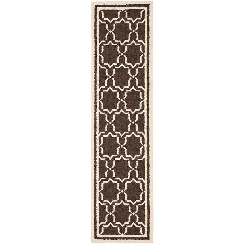 Dhurries Chocolate/Ivory 2 ft. 6 in. x 12 ft. Runner