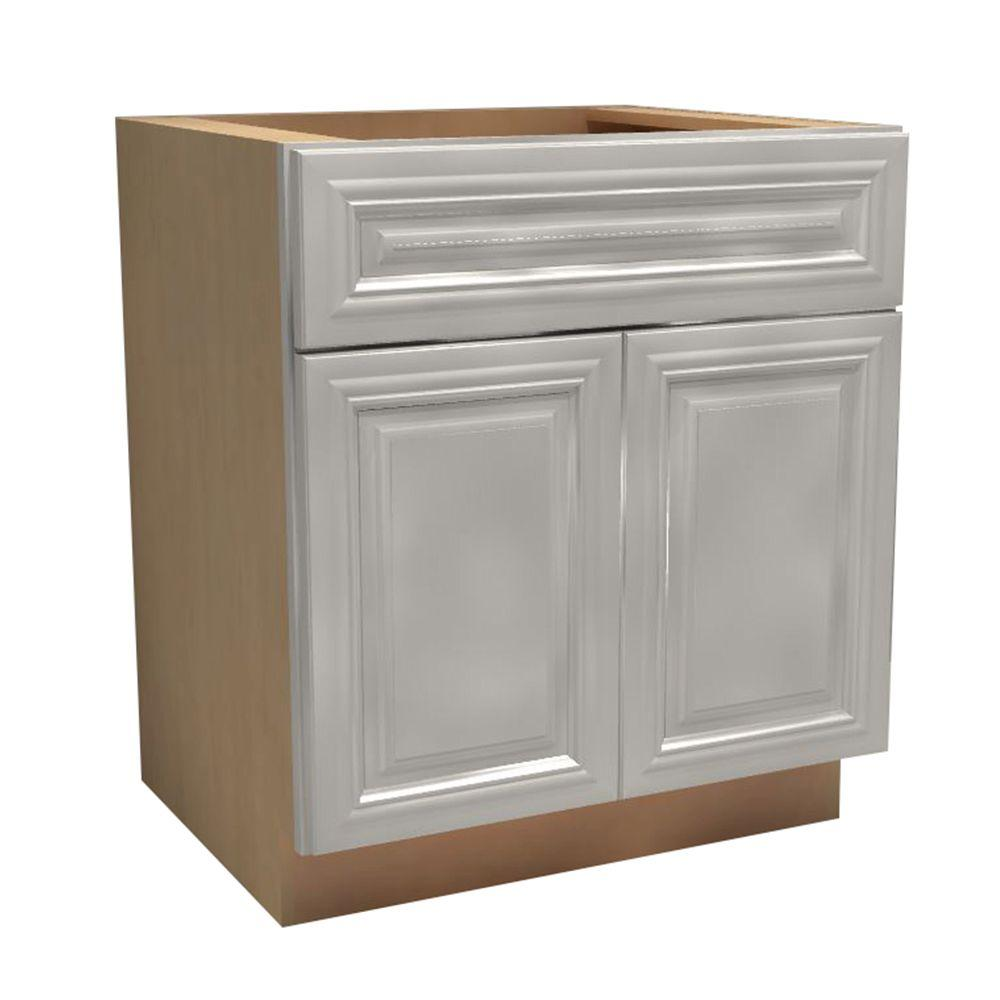 Assembled Double Door Base Kitchen Cabinet Drawer Rollout Trays Pacific White 225 Product Picture