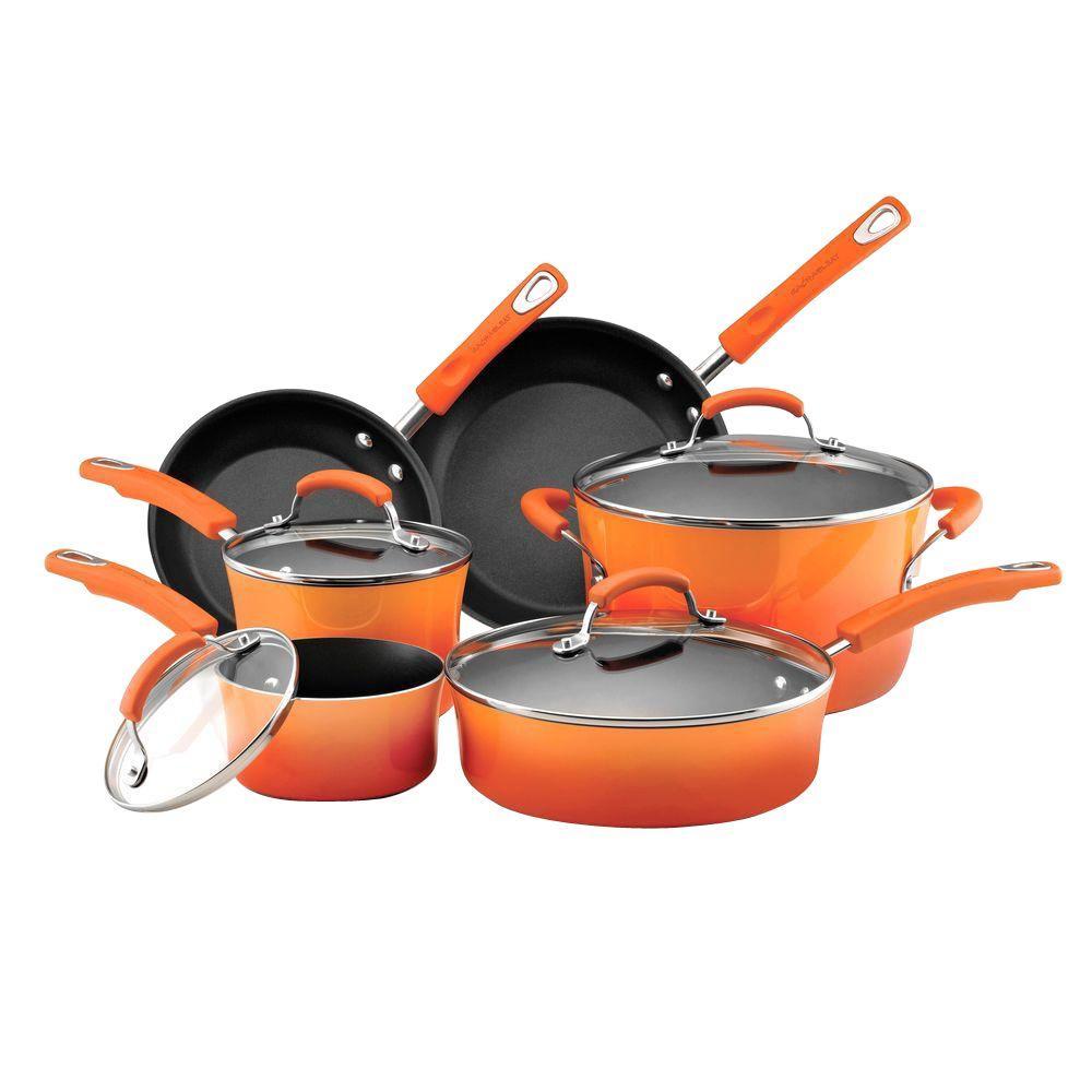 Rachael Ray 10-Piece Non-Stick Porcelain Enamel Cookware Set in Orange